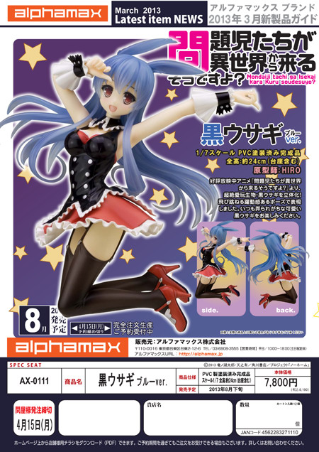 Mondaiji tachi ga Isekai Kara Kuru So Desu yo?   Black Rabbit Blue Ver. 1/7 PVC figure by Alphamax